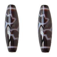 Natürliche Tibetan Achat Dzi Perlen, oval, Lotus & zweifarbig, Grad AAA, 12x39mm, Bohrung:ca. 2mm, verkauft von PC