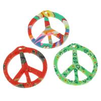Polymer Ton Anhänger, Frieden Logo, handgemacht, gemischte Farben, 28x30x3mm, Bohrung:ca. 1mm, 100PCs/Tasche, verkauft von Tasche
