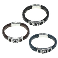 Unisex-Armband & Bangle, Kuhhaut, mit Edelstahl, keine, 12mm, 29x14x8mm, 39x16x10mm, verkauft per ca. 8.5 ZollInch Strang