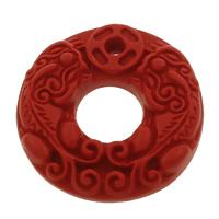 Koralle Anhänger, Synthetische Koralle, flache Runde, geschnitzed, rot, 30x6mm, Bohrung:ca. 2mm, 10PCs/Tasche, verkauft von Tasche