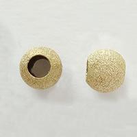 Messing Sternenstaub Perlen, rund, goldfarben plattiert, Falten, frei von Nickel, Blei & Kadmium, 10mm, Bohrung:ca. 3.5mm, 1000PCs/Tasche, verkauft von Tasche