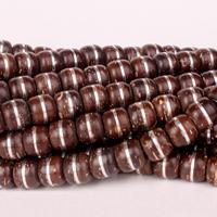 Kokosrinde Zwischenperlen, flache Runde, natürlich, frei von Nickel, Blei & Kadmium, 9x8mm, Bohrung:ca. 2mm, 10PCs/Menge, verkauft von Menge