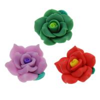 Polymer Ton Perlen , Blume, handgemacht, gemischte Farben, 25mm, Bohrung:ca. 1mm, 100PCs/Tasche, verkauft von Tasche
