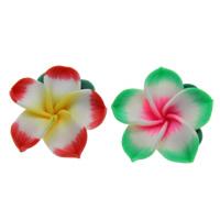 Polymer Ton Perlen , Blume, handgemacht, gemischte Farben, 25x10mm, Bohrung:ca. 1mm, 100PCs/Tasche, verkauft von Tasche