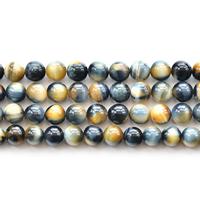 Tigerauge Perlen, rund, natürlich, verschiedene Größen vorhanden, Länge:ca. 15 ZollInch, verkauft von Menge