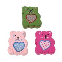 Holzperlen, Holz, Bär, Kunstdruck, mit einem Muster von Herzen, gemischte Farben, 17x20x6mm, Bohrung:ca. 2mm, ca. 500PCs/Tasche, verkauft von Tasche