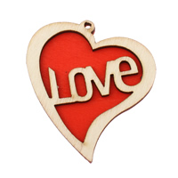 Holz Anhänger, Herz, Wort Liebe, rot, 47.50x51x5mm, Bohrung:ca. 2mm, 200PCs/Tasche, verkauft von Tasche