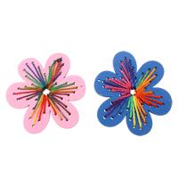 Holz Anhänger, mit Nylonschnur, Blume, gemischte Farben, 61x66x5mm, Bohrung:ca. 1mm, 200PCs/Tasche, verkauft von Tasche
