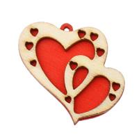 Holz Anhänger, Herz, rot, 41x38x5mm, Bohrung:ca. 2mm, 200PCs/Tasche, verkauft von Tasche