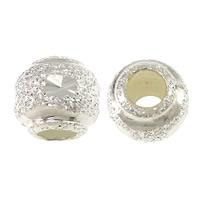 925 Sterling Silber Perlen, rund, großes Loch & Falten, 8x7mm, Bohrung:ca. 3mm, 30PCs/Tasche, verkauft von Tasche