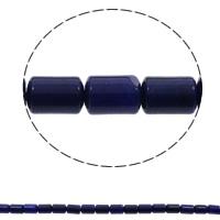 gefärbter Marmor Perle, Zylinder, natürlich, blau, 10x14mm, Bohrung:ca. 1mm, 28PCs/Strang, verkauft per ca. 15.3 ZollInch Strang