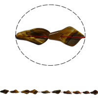 Tigerauge Perlen, Blatt, natürlich, 16x28x8mm, Bohrung:ca. 1mm, ca. 12PCs/Strang, verkauft per ca. 16.5 ZollInch Strang