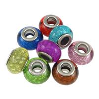 Kunststoff European Perlen, Trommel, Platinfarbe platiniert, Messing-Dual-Core ohne troll, keine, frei von Nickel, Blei & Kadmium, 9x14mm, Bohrung:ca. 5mm, 200PCs/Menge, verkauft von Menge