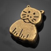 Zinklegierung Tier Perlen, Katze, antike Goldfarbe plattiert, frei von Nickel, Blei & Kadmium, 8.60x11.10mm, Bohrung:ca. 1-2mm, 1000PCs/Menge, verkauft von Menge