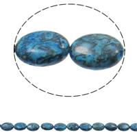 gefärbter Marmor Perle, flachoval, blau, 13x18x5mm, Bohrung:ca. 1.5mm, ca. 22PCs/Strang, verkauft per ca. 15.3 ZollInch Strang