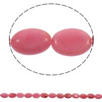 Rhodonit Perlen, flachoval, natürlich, 13x18x5mm, Bohrung:ca. 1.5mm, ca. 23PCs/Strang, verkauft per ca. 15.7 ZollInch Strang