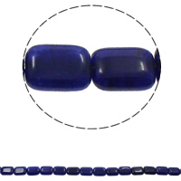 gefärbter Marmor Perle, Rechteck, blau, 13x18x6mm, Bohrung:ca. 1.5mm, ca. 21PCs/Strang, verkauft per ca. 15.3 ZollInch Strang