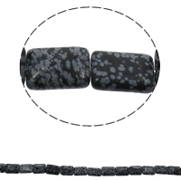 Schneeflocke Obsidian, Rechteck, natürlich, 13x18x6mm, Bohrung:ca. 1.5mm, ca. 22PCs/Strang, verkauft per ca. 15.7 ZollInch Strang
