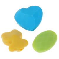 Gemischte Acrylperlen, Acryl, satiniert & Volltonfarbe, 13x13x5mm-20x20x7mm, Bohrung:ca. 1-4mm, ca. 500PCs/Tasche, verkauft von Tasche