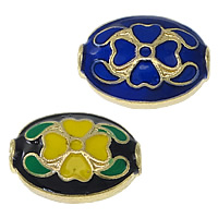 Imitation Cloisonne Zink Legierung Perlen, Zinklegierung, flachoval, goldfarben plattiert, doppelseitigen Schmelz, keine, frei von Nickel, Blei & Kadmium, 16x12x7mm, Bohrung:ca. 2mm, 30PCs/Menge, verkauft von Menge