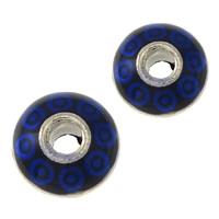 Imitation Cloisonne Zink Legierung Perlen, Zinklegierung, silberfarben plattiert, verschiedene Größen vorhanden & Emaille & Schwärzen, blau, frei von Nickel, Blei & Kadmium, 100PCs/Menge, verkauft von Menge