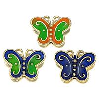 Imitation Cloisonne Zink Legierung Perlen, Zinklegierung, Schmetterling, goldfarben plattiert, doppelseitigen Schmelz, keine, frei von Nickel, Blei & Kadmium, 14x11x6mm, Bohrung:ca. 1.5mm, 20PCs/Menge, verkauft von Menge
