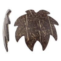 Kokosnuss Anhänger, Kokosrinde, Blatt, natürlich, originale Farbe, 48x46x5mm, Bohrung:ca. 2mm, 100PCs/Tasche, verkauft von Tasche