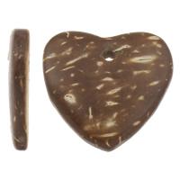 Kokosnuss Anhänger, Kokosrinde, Herz, natürlich, originale Farbe, 20x19x4mm, Bohrung:ca. 1mm, 1000PCs/Tasche, verkauft von Tasche