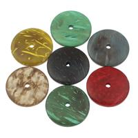Kokos-Perlen, Kokosrinde, flache Runde, natürliche, gemischte Farben, 25x4mm, Bohrung:ca. 4mm, 200PCs/Tasche, verkauft von Tasche
