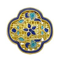 Glatte Cloisonné Perlen, Blume, Bläu, hohl, frei von Nickel, Blei & Kadmium, 20.50x20.50x8mm, Bohrung:ca. 2mm, 10PCs/Menge, verkauft von Menge