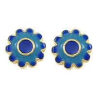 Glatte Cloisonné Perlen, Blume, Bläu, Doppelloch, frei von Nickel, Blei & Kadmium, 13x13x7mm, Bohrung:ca. 2mm, 10PCs/Menge, verkauft von Menge