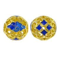 Glatte Cloisonné Perlen, rund, Bläu, hohl, frei von Nickel, Blei & Kadmium, 13mm, Bohrung:ca. 1.5mm, 10PCs/Menge, verkauft von Menge