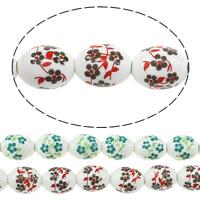 Kunstdruck Porzellan Perlen, oval, mit Blumenmuster, keine, 17x13mm, Bohrung:ca. 3mm, Länge:ca. 13 ZollInch, 5SträngeStrang/Menge, ca. 20PCs/Strang, verkauft von Menge
