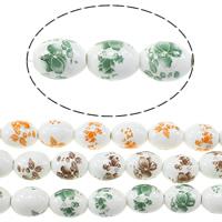 Kunstdruck Porzellan Perlen, oval, mit Blumenmuster, keine, 17x13mm, Bohrung:ca. 3mm, Länge:ca. 13.5 ZollInch, 5SträngeStrang/Menge, ca. 20PCs/Strang, verkauft von Menge