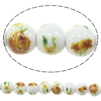 Kunstdruck Porzellan Perlen, rund, mit Blumenmuster, 8mm, Bohrung:ca. 2mm, Länge:ca. 13 ZollInch, 5SträngeStrang/Menge, ca. 44PCs/Strang, verkauft von Menge