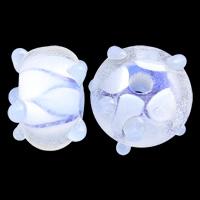 Holprige Lampwork Perlen, Rondell, handgemacht, uneben, blau, 7x13mm, Bohrung:ca. 2mm, 100PCs/Tasche, verkauft von Tasche