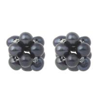 Ball Cluster Zuchtperlen, Natürliche kultivierte Süßwasserperlen, Kartoffel, schwarz, 12x15mm, Bohrung:ca. 2mm, verkauft von PC