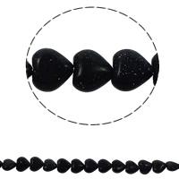 Blaue Goldstein Perlen, blauer Goldsand, Herz, natürlich, 12x5mm, Bohrung:ca. 1.5mm, ca. 36PCs/Strang, verkauft per ca. 15.7 ZollInch Strang