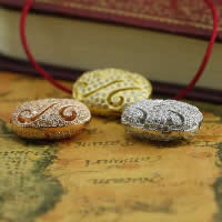 Befestiger Zirkonia Sterlingsilber Perlen, 925 Sterling Silber, flachoval, plattiert, Micro pave Zirkonia & hohl, gemischte Farben, 11.80x16x6.20mm, Bohrung:ca. 1-2mm, 3PCs/Menge, verkauft von Menge