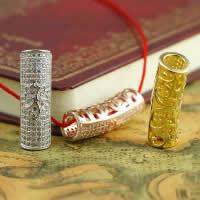 Befestiger Zirkonia Sterlingsilber Perlen, 925 Sterling Silber, Rohr, plattiert, Micro pave Zirkonia & hohl, gemischte Farben, 8.30x27.20mm, Bohrung:ca. 3-5mm, 3PCs/Menge, verkauft von Menge