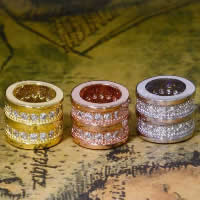 Befestiger Zirkonia Sterlingsilber Perlen, 925 Sterling Silber, Zylinder, plattiert, Micro pave Zirkonia, gemischte Farben, 6.30x7.60mm, Bohrung:ca. 3-5mm, 10PCs/Menge, verkauft von Menge