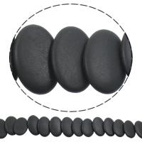 Schwarze Stein Perlen, schwarzer Stein, flachoval, natürlich, satiniert, 20x30x5mm, Bohrung:ca. 1mm, Länge:ca. 15 ZollInch, 5SträngeStrang/Tasche, ca. 25PCs/Strang, verkauft von Tasche