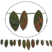 Unakit Perlen, Unakite, Pferdeauge, natürlich, 10-14x28-40mm, Bohrung:ca. 1mm, Länge:ca. 15 ZollInch, 5SträngeStrang/Tasche, ca. 18PCs/Strang, verkauft von Tasche