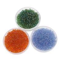 Regenbogen Glas-Rocailles, rund, transparent, keine, 2x1.9mm, Bohrung:ca. 1mm, ca. 6660PCs/Tasche, verkauft von Tasche
