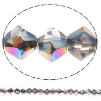 Doppelkegel Kristallperlen, Kristall, halb plattiert, verschiedene Größen vorhanden & facettierte, Kristall, Bohrung:ca. 1mm, Länge:ca. 12.2 ZollInch, verkauft von Tasche