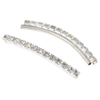 Messing gebogene Rohr Perlen, Platinfarbe platiniert, mit Strass, frei von Nickel, Blei & Kadmium, 36x5x3mm, Bohrung:ca. 1mm, 10/