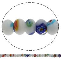 Millefiori Glasperlen, Glas Millefiori, Rondell, handgemacht, 10x7mm, Bohrung:ca. 1mm, Länge:ca. 15 ZollInch, 10SträngeStrang/Tasche, ca. 55PCs/Strang, verkauft von Tasche