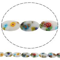 Millefiori Glasperlen, Glas Millefiori, flachoval, handgemacht, verschiedene Größen vorhanden, Bohrung:ca. 1mm, Länge:ca. 14.5 ZollInch, verkauft von Tasche