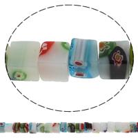 Millefiori Glasperlen, Glas Millefiori, Würfel, handgemacht, verschiedene Größen vorhanden, Bohrung:ca. 1mm, Länge:ca. 14.2 ZollInch, verkauft von Tasche