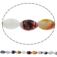 Millefiori Glasperlen, Glas Millefiori, oval, handgemacht, verschiedene Größen vorhanden, Bohrung:ca. 1mm, Länge:ca. 15.7 ZollInch, verkauft von Tasche